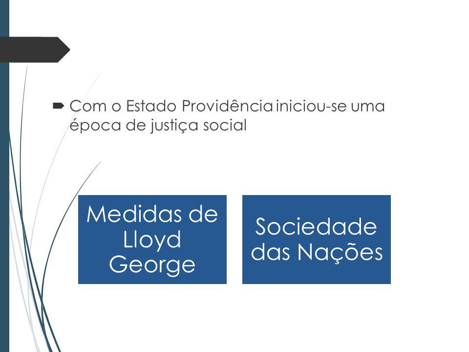 Com o Estado Providência iniciou-se uma época de justiça social Medidas de Lloyd George Sociedade das Nações