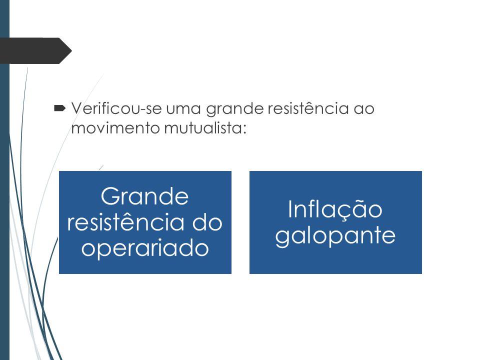 Verificou-se uma grande resistência ao movimento mutualista: Grande resistência do operariado Inflação galopante