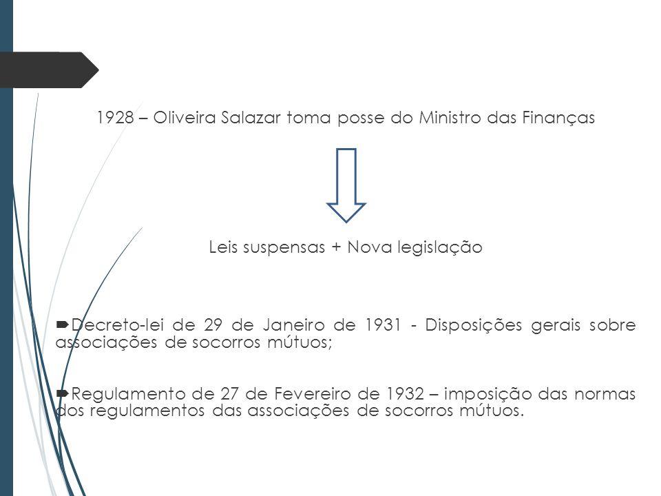 1928 – Oliveira Salazar toma posse do Ministro das Finanças Leis suspensas + Nova legislação Decreto-lei de 29 de Janeiro de 1931 - Disposições gerais sobre associações de socorros mútuos; Regulamento de 27 de Fevereiro de 1932 – imposição das normas dos regulamentos das associações de socorros mútuos.