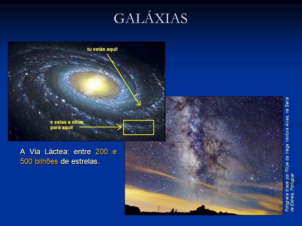 A Via Láctea: entre 200 e 500 bilhões de estrelas. Fotograria tirada por Filipe da Veiga Ventura Alves, na Serra da Estrela, Portugual. GALÁXIAS