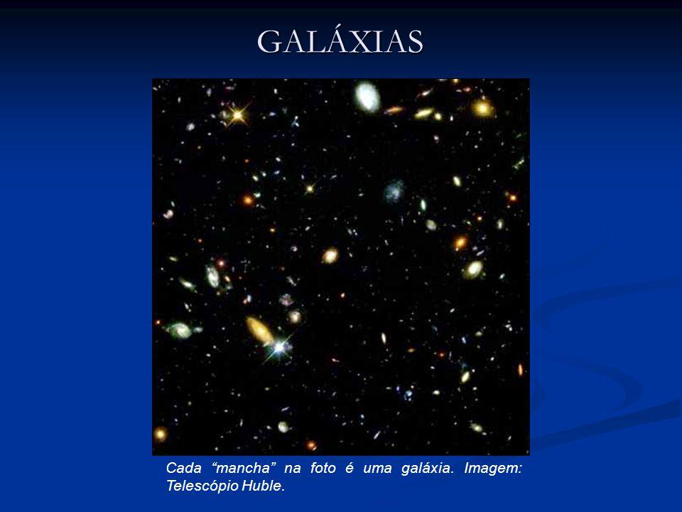 Cada mancha na foto é uma galáxia. Imagem: Telescópio Huble. GALÁXIAS