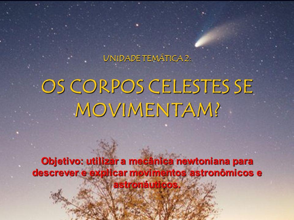 UNIDADE TEMÁTICA 2: OS CORPOS CELESTES SE MOVIMENTAM? Objetivo: utilizar a mecânica newtoniana para descrever e explicar movimentos astronômicos e ast