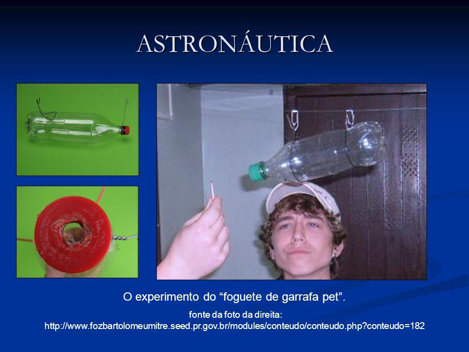 ASTRONÁUTICA O experimento do foguete de garrafa pet. fonte da foto da direita: http://www.fozbartolomeumitre.seed.pr.gov.br/modules/conteudo/conteudo