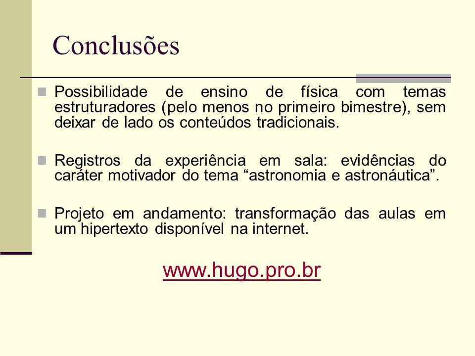 Conclusões Possibilidade de ensino de física com temas estruturadores (pelo menos no primeiro bimestre), sem deixar de lado os conteúdos tradicionais.