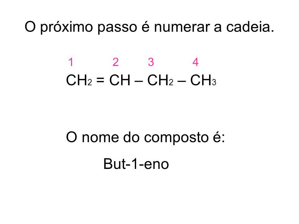 O próximo passo é numerar a cadeia. CH 2 = CH – CH 2 – CH 3 O nome do composto é: But-1-eno 1234
