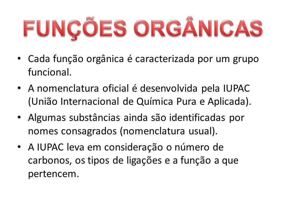 Cada função orgânica é caracterizada por um grupo funcional. A nomenclatura oficial é desenvolvida pela IUPAC (União Internacional de Química Pura e A