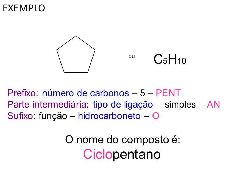 EXEMPLO ou C 5 H 10 Prefixo: número de carbonos – 5 – PENT Parte intermediária: tipo de ligação – simples – AN Sufixo: função – hidrocarboneto – O O n