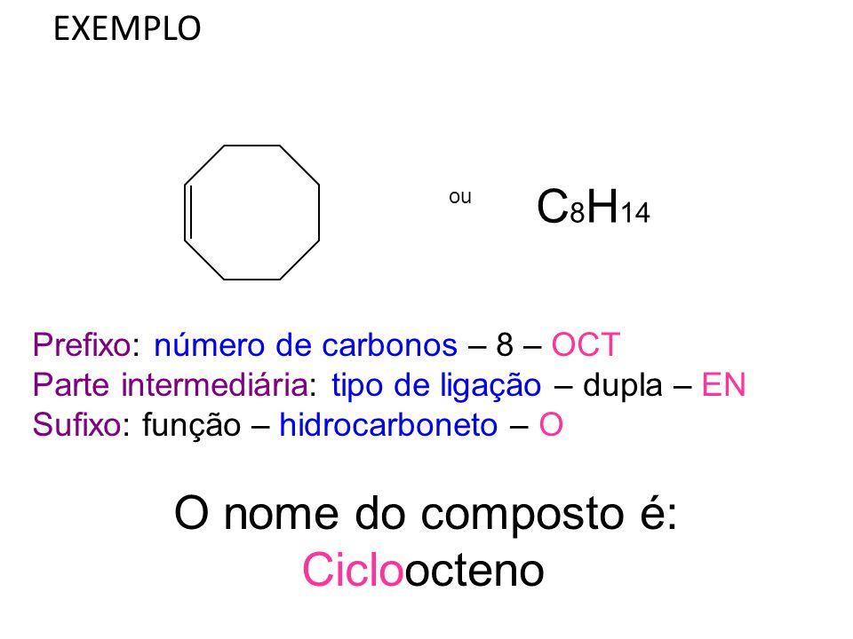 EXEMPLO ou C 8 H 14 Prefixo: número de carbonos – 8 – OCT Parte intermediária: tipo de ligação – dupla – EN Sufixo: função – hidrocarboneto – O O nome