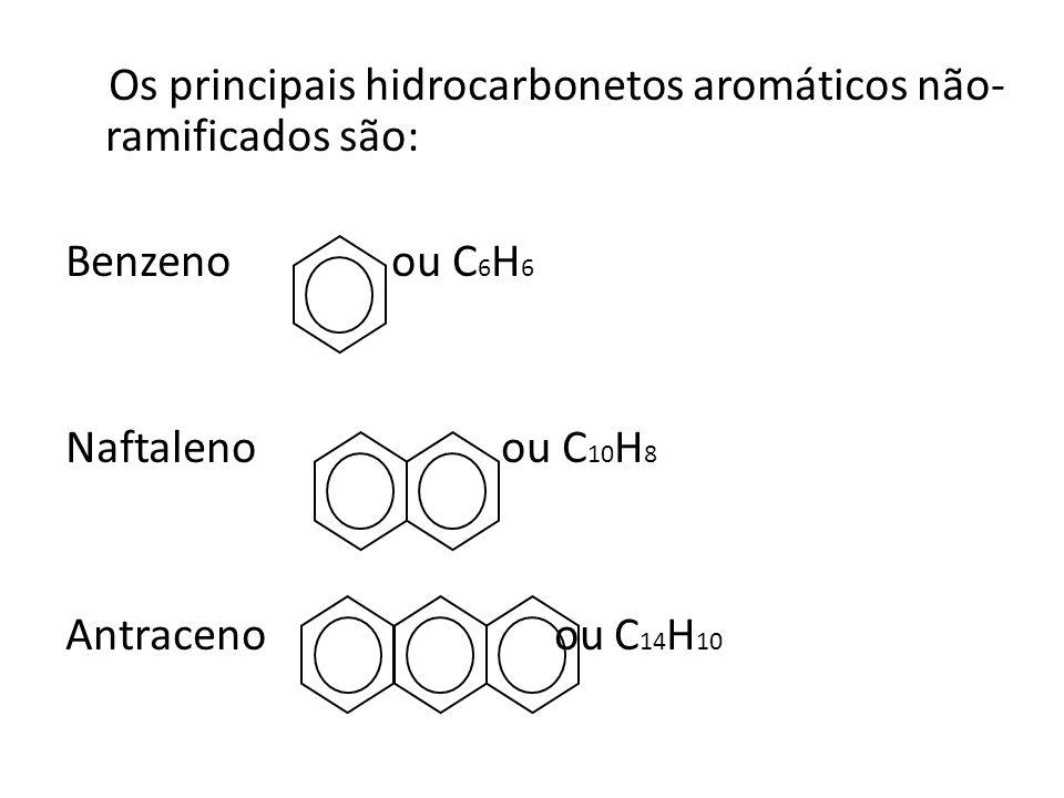 Os principais hidrocarbonetos aromáticos não- ramificados são: Benzeno ou C 6 H 6 Naftaleno ou C 10 H 8 Antraceno ou C 14 H 10