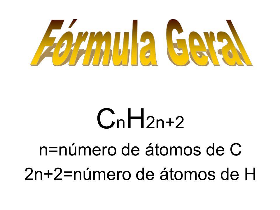 C n H 2n+2 n=número de átomos de C 2n+2=número de átomos de H