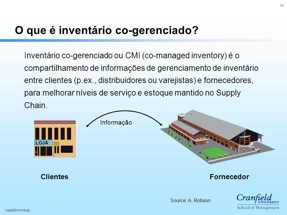 11 Usa2001/mlitvsc O que é inventário co-gerenciado? LOJA Inventário co-gerenciado ou CMI (co-managed inventory) é o compartilhamento de informações d