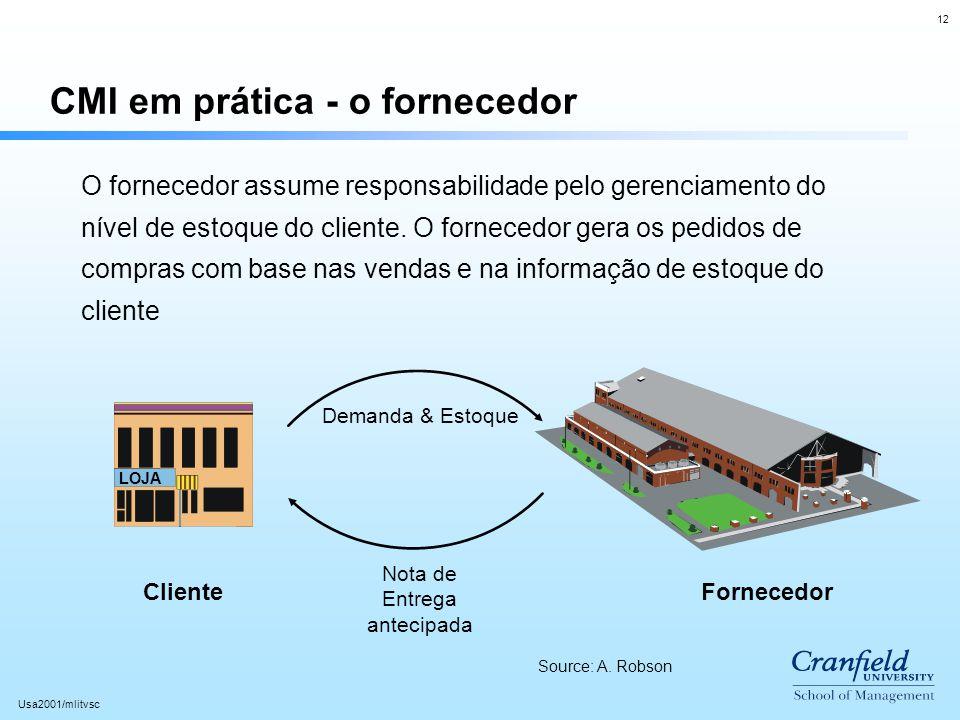 12 Usa2001/mlitvsc CMI em prática - o fornecedor LOJA O fornecedor assume responsabilidade pelo gerenciamento do nível de estoque do cliente. O fornec