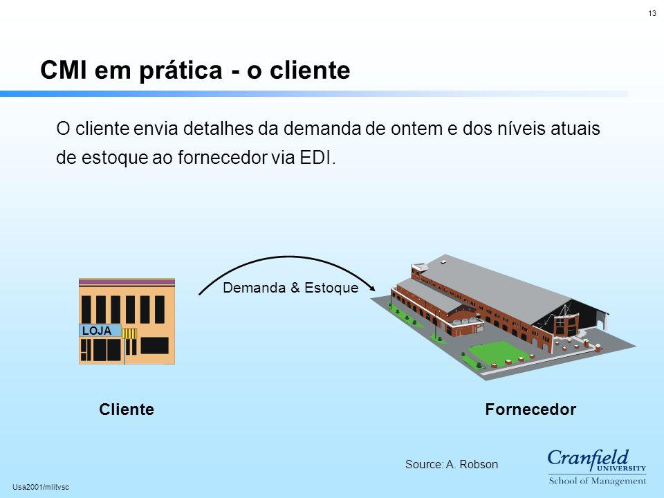 13 Usa2001/mlitvsc CMI em prática - o cliente LOJA O cliente envia detalhes da demanda de ontem e dos níveis atuais de estoque ao fornecedor via EDI.