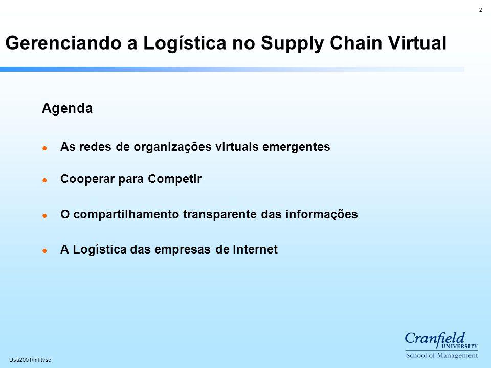 2 Usa2001/mlitvsc Gerenciando a Logística no Supply Chain Virtual Agenda l As redes de organizações virtuais emergentes l Cooperar para Competir l O c