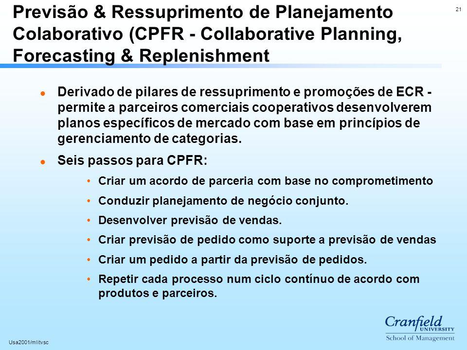 21 Usa2001/mlitvsc Previsão & Ressuprimento de Planejamento Colaborativo (CPFR - Collaborative Planning, Forecasting & Replenishment l Derivado de pil