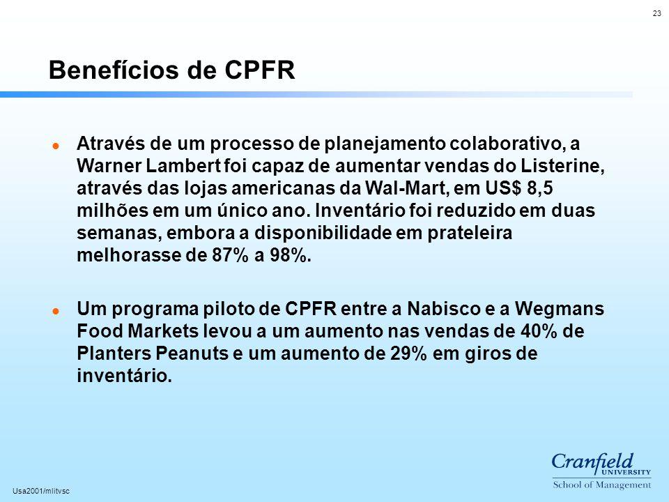 23 Usa2001/mlitvsc Benefícios de CPFR l Através de um processo de planejamento colaborativo, a Warner Lambert foi capaz de aumentar vendas do Listerin
