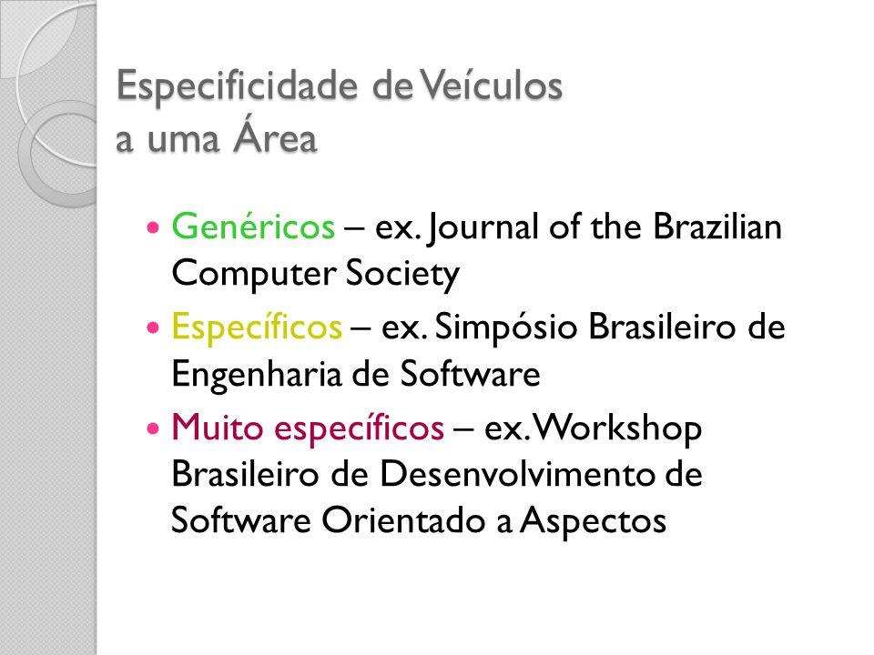 Especificidade de Veículos a uma Área Genéricos – ex. Journal of the Brazilian Computer Society Específicos – ex. Simpósio Brasileiro de Engenharia de