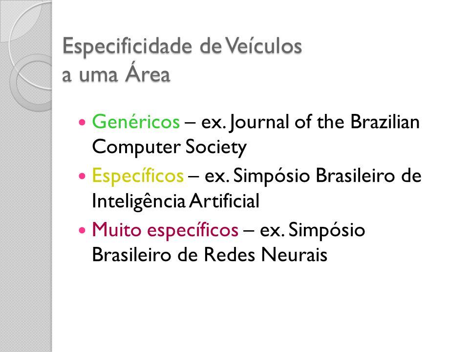 Especificidade de Veículos a uma Área Genéricos – ex. Journal of the Brazilian Computer Society Específicos – ex. Simpósio Brasileiro de Inteligência
