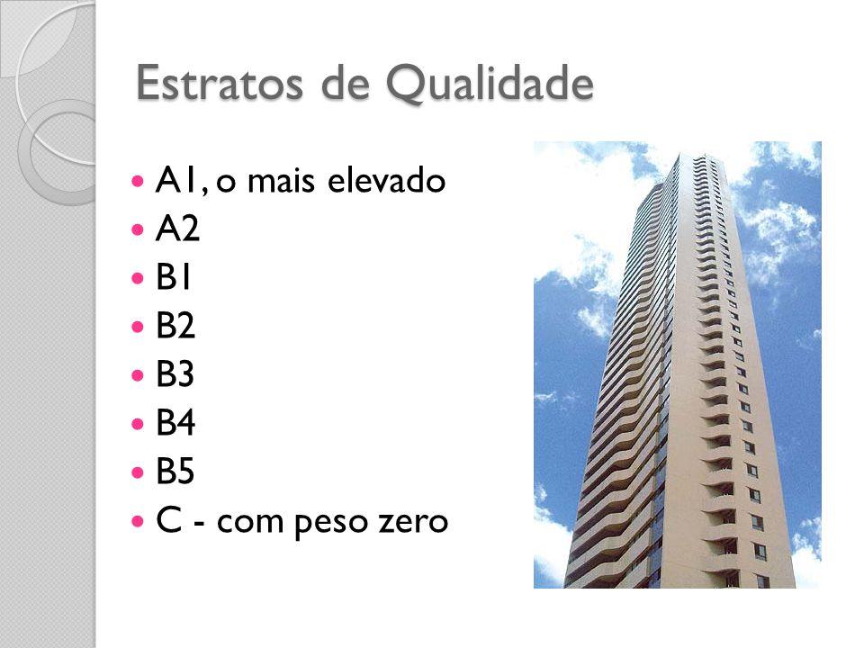 Estratos de Qualidade A1, o mais elevado A2 B1 B2 B3 B4 B5 C - com peso zero