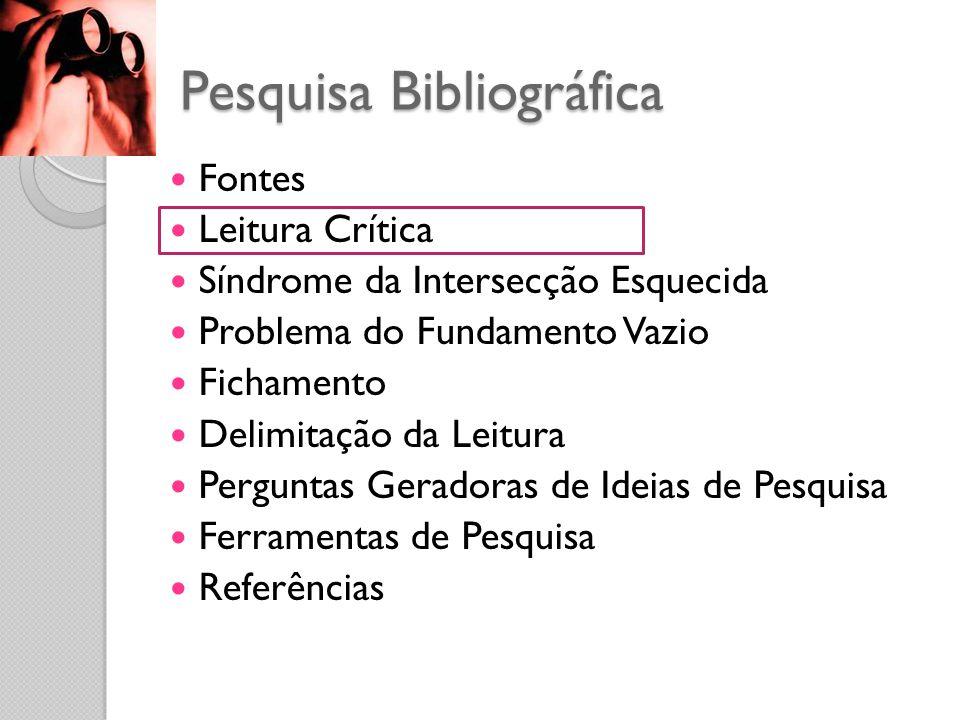 Pesquisa Bibliográfica Fontes Leitura Crítica Síndrome da Intersecção Esquecida Problema do Fundamento Vazio Fichamento Delimitação da Leitura Perguntas Geradoras de Ideias de Pesquisa Ferramentas de Pesquisa Referências