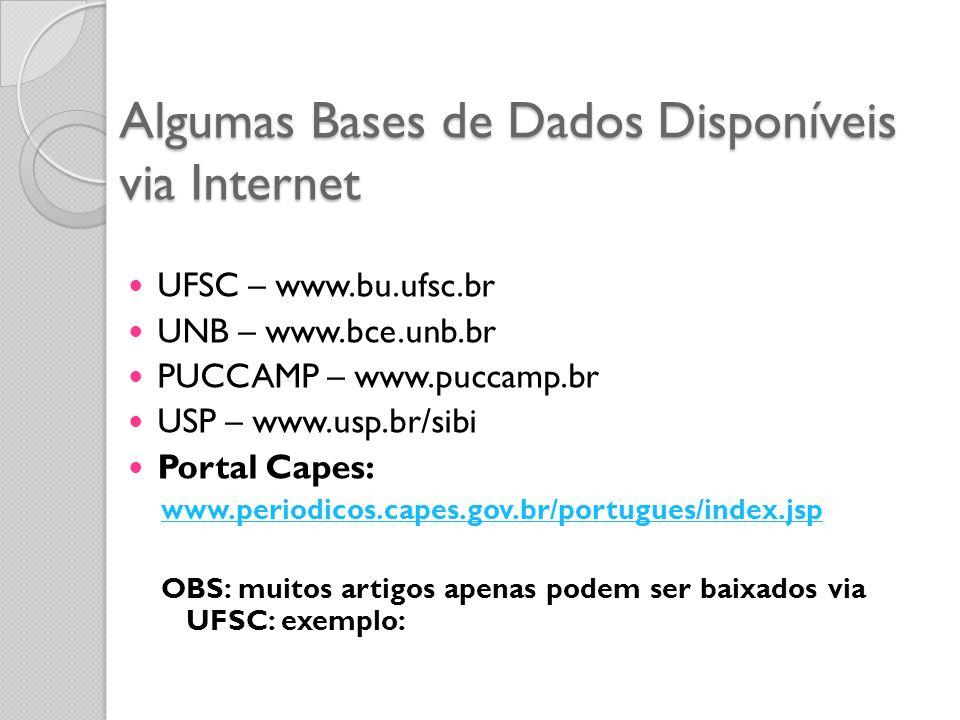 Algumas Bases de Dados Disponíveis via Internet UFSC – www.bu.ufsc.br UNB – www.bce.unb.br PUCCAMP – www.puccamp.br USP – www.usp.br/sibi Portal Capes: www.periodicos.capes.gov.br/portugues/index.jsp OBS: muitos artigos apenas podem ser baixados via UFSC: exemplo: