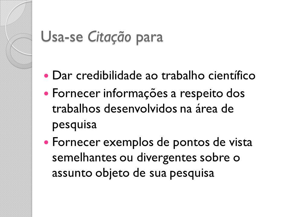 Usa-se Citação para Dar credibilidade ao trabalho científico Fornecer informações a respeito dos trabalhos desenvolvidos na área de pesquisa Fornecer