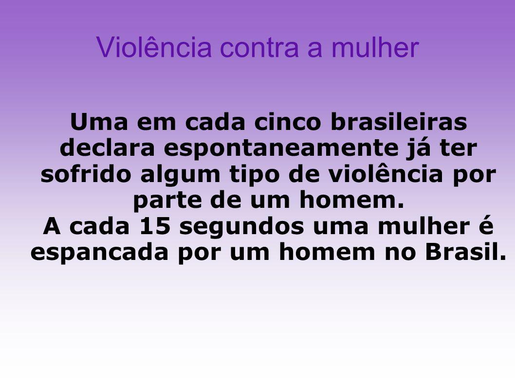 Violência contra a mulher Uma em cada cinco brasileiras declara espontaneamente já ter sofrido algum tipo de violência por parte de um homem. A cada 1