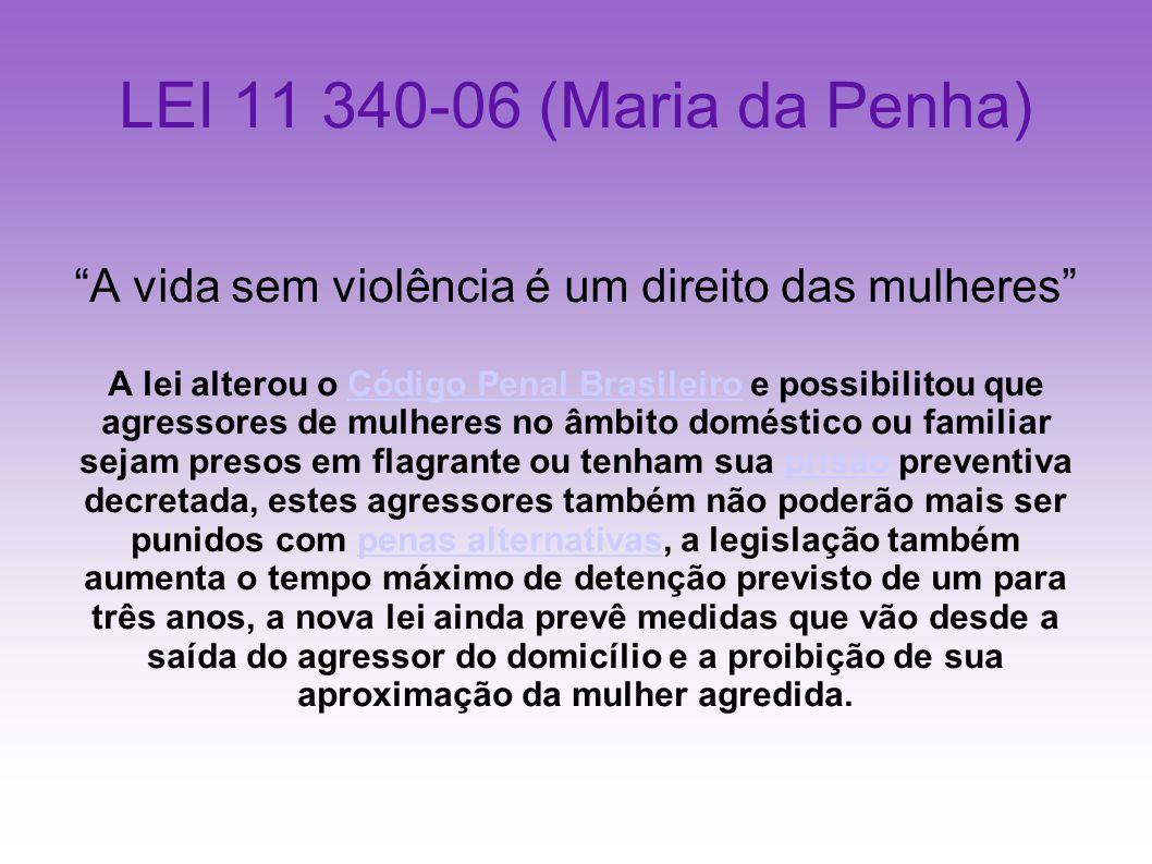 LEI 11 340-06 (Maria da Penha) A vida sem violência é um direito das mulheres A lei alterou o Código Penal Brasileiro e possibilitou que agressores de