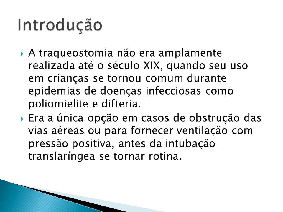A traqueostomia não era amplamente realizada até o século XIX, quando seu uso em crianças se tornou comum durante epidemias de doenças infecciosas com