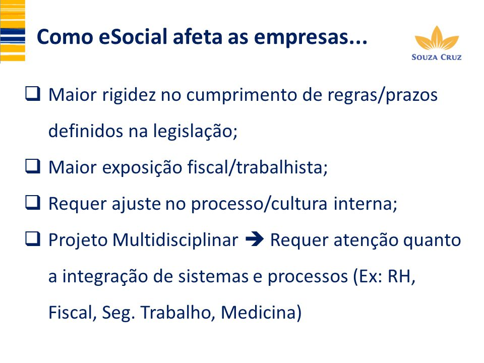 Maior rigidez no cumprimento de regras/prazos definidos na legislação; Maior exposição fiscal/trabalhista; Requer ajuste no processo/cultura interna;
