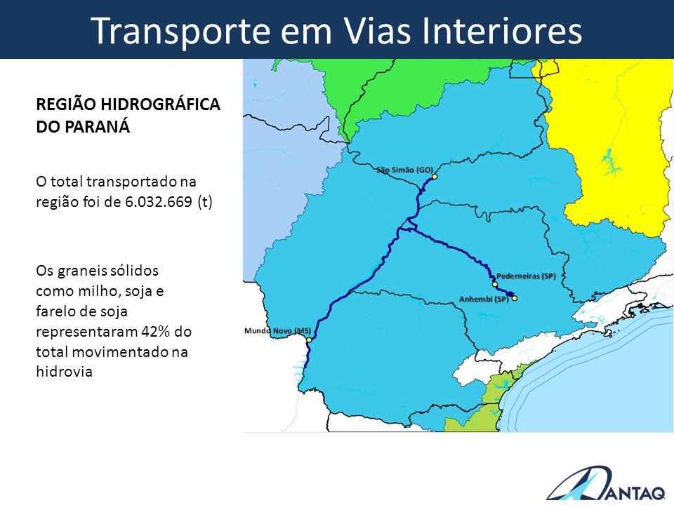Transporte em Vias Interiores O total transportado na região foi de 6.032.669 (t) Os graneis sólidos como milho, soja e farelo de soja representaram 4