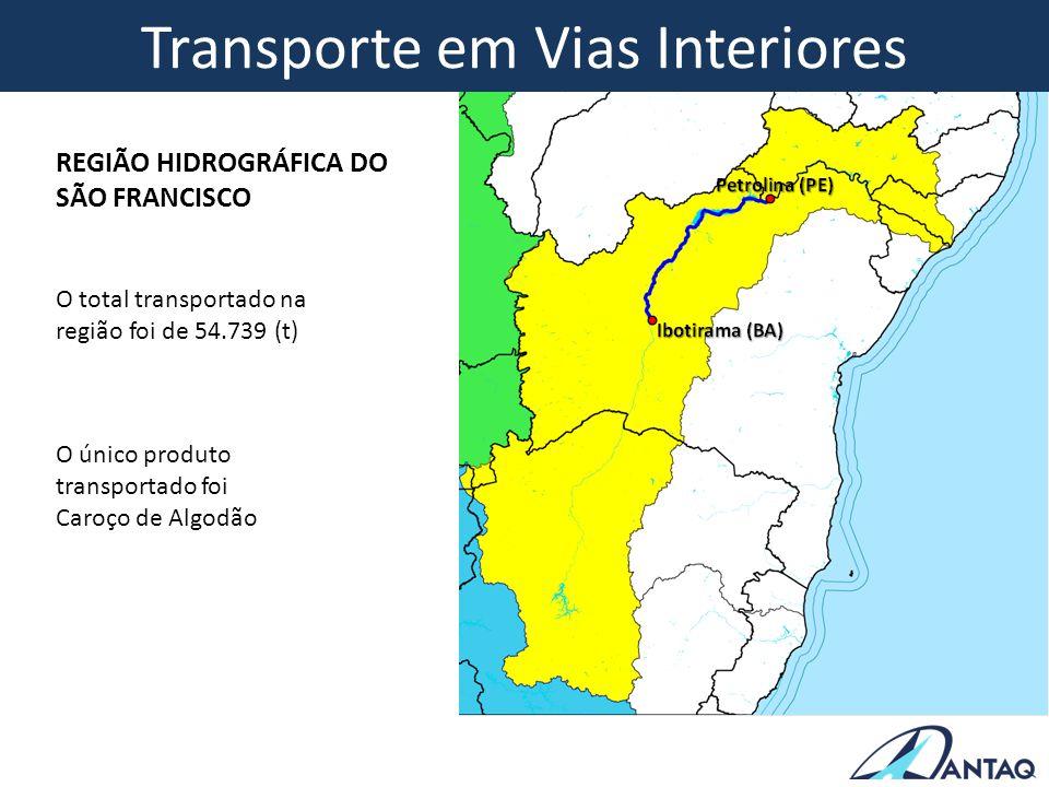 O total transportado na região foi de 54.739 (t) O único produto transportado foi Caroço de Algodão REGIÃO HIDROGRÁFICA DO SÃO FRANCISCO Transporte em