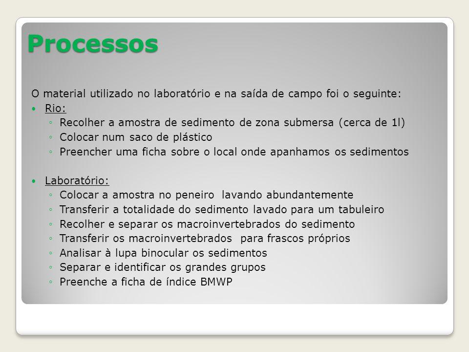 Processos O material utilizado no laboratório e na saída de campo foi o seguinte: Rio: Recolher a amostra de sedimento de zona submersa (cerca de 1l)