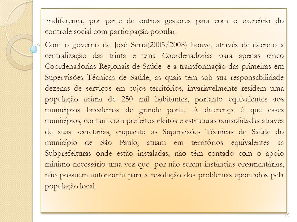 . indiferença, por parte de outros gestores para com o exercício do controle social com participação popular. Com o governo de José Serra(2005/2008) h