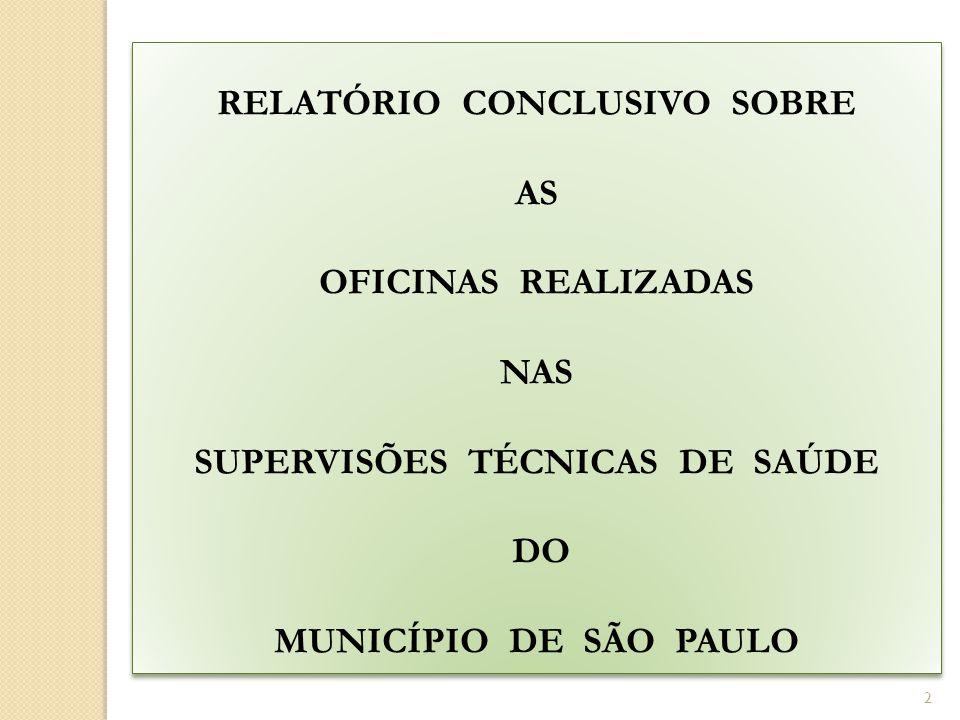 2 RELATÓRIO CONCLUSIVO SOBRE AS OFICINAS REALIZADAS NAS SUPERVISÕES TÉCNICAS DE SAÚDE DO MUNICÍPIO DE SÃO PAULO RELATÓRIO CONCLUSIVO SOBRE AS OFICINAS REALIZADAS NAS SUPERVISÕES TÉCNICAS DE SAÚDE DO MUNICÍPIO DE SÃO PAULO