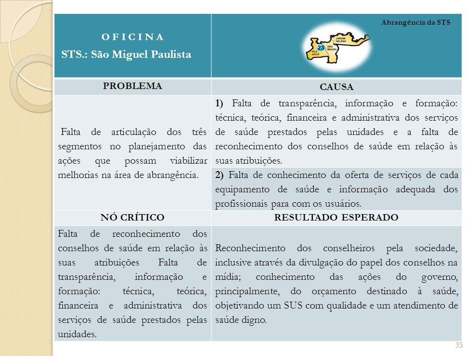 O F I C I N A STS.: São Miguel Paulista PROBLEMA CAUSA Falta de articulação dos três segmentos no planejamento das ações que possam viabilizar melhorias na área de abrangência.