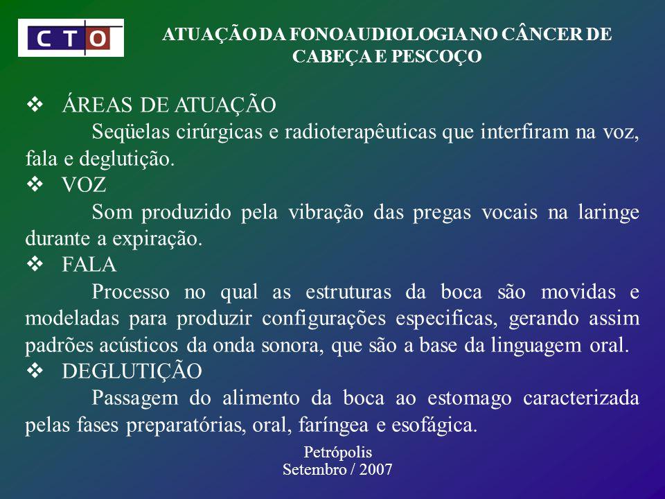 Petrópolis Setembro / 2007 ATUAÇÃO DA FONOAUDIOLOGIA NO CÂNCER DE CABEÇA E PESCOÇO ÁREAS DE ATUAÇÃO Seqüelas cirúrgicas e radioterapêuticas que interfiram na voz, fala e deglutição.