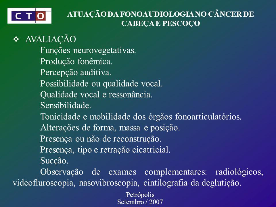 ATUAÇÃO DA FONOAUDIOLOGIA NO CÂNCER DE CABEÇA E PESCOÇO Petrópolis Setembro / 2007 AVALIAÇÃO Funções neurovegetativas.