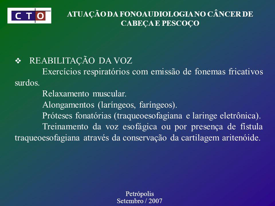 REABILITAÇÃO DA VOZ Exercícios respiratórios com emissão de fonemas fricativos surdos.