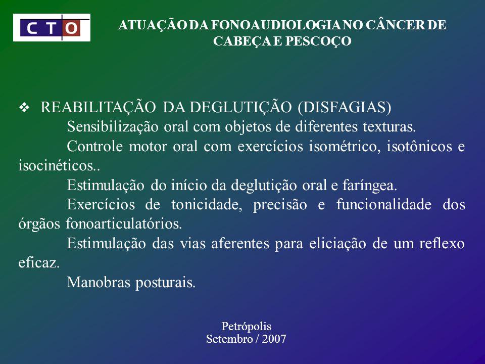 ATUAÇÃO DA FONOAUDIOLOGIA NO CÂNCER DE CABEÇA E PESCOÇO Petrópolis Setembro / 2007 REABILITAÇÃO DA DEGLUTIÇÃO (DISFAGIAS) Sensibilização oral com objetos de diferentes texturas.
