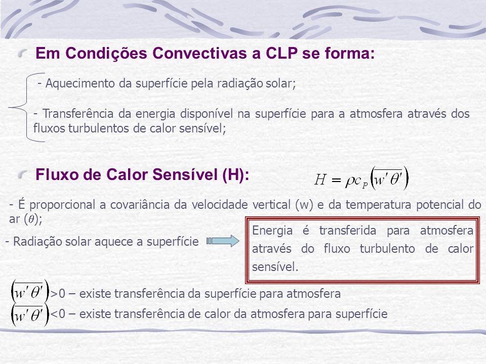 Fluxo de Calor Sensível (H): - É proporcional a covariância da velocidade vertical (w) e da temperatura potencial do ar ( ); - Radiação solar aquece a