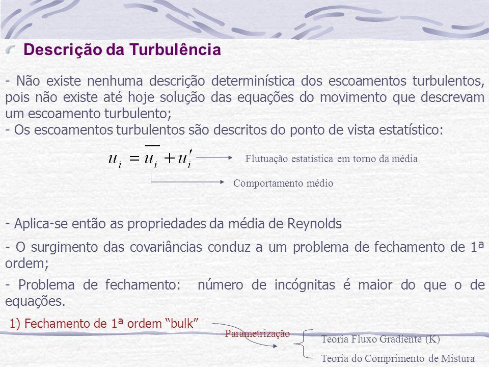 Descrição da Turbulência - Não existe nenhuma descrição determinística dos escoamentos turbulentos, pois não existe até hoje solução das equações do m