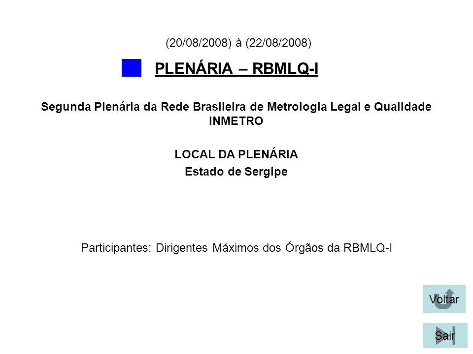 Voltar Sair PLENÁRIA – RBMLQ-I LOCAL DA PLENÁRIA Estado de Sergipe Segunda Plenária da Rede Brasileira de Metrologia Legal e Qualidade INMETRO (20/08/