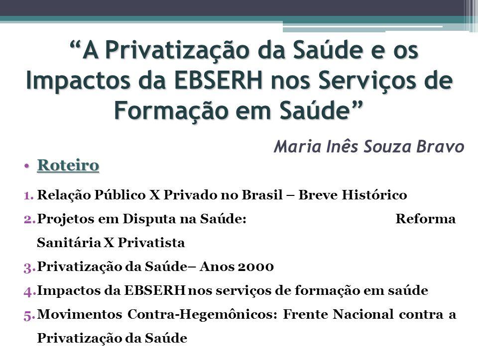 A Privatização da Saúde e os Impactos da EBSERH nos Serviços de Formação em Saúde A Privatização da Saúde e os Impactos da EBSERH nos Serviços de Form