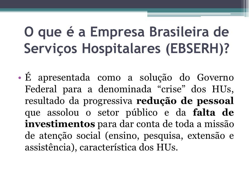 O que é a Empresa Brasileira de Serviços Hospitalares (EBSERH)? É apresentada como a solução do Governo Federal para a denominada crise dos HUs, resul