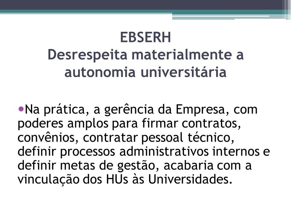 EBSERH Desrespeita materialmente a autonomia universitária Na prática, a gerência da Empresa, com poderes amplos para firmar contratos, convênios, con
