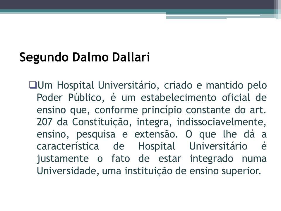 Segundo Dalmo Dallari Um Hospital Universitário, criado e mantido pelo Poder Público, é um estabelecimento oficial de ensino que, conforme princípio c