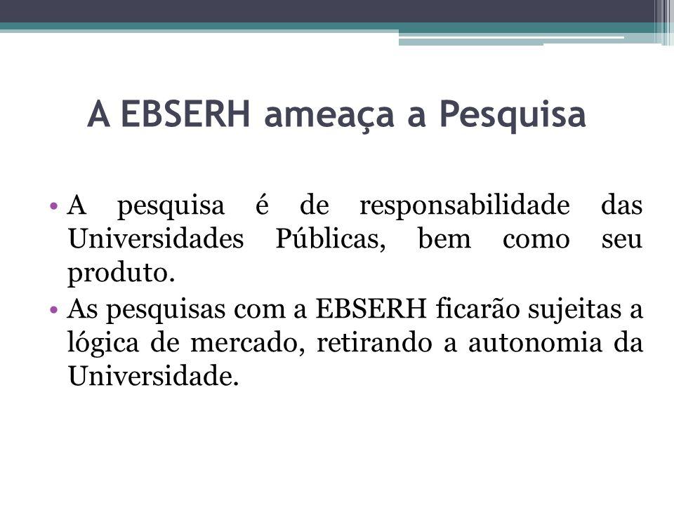 A EBSERH ameaça a Pesquisa A pesquisa é de responsabilidade das Universidades Públicas, bem como seu produto. As pesquisas com a EBSERH ficarão sujeit