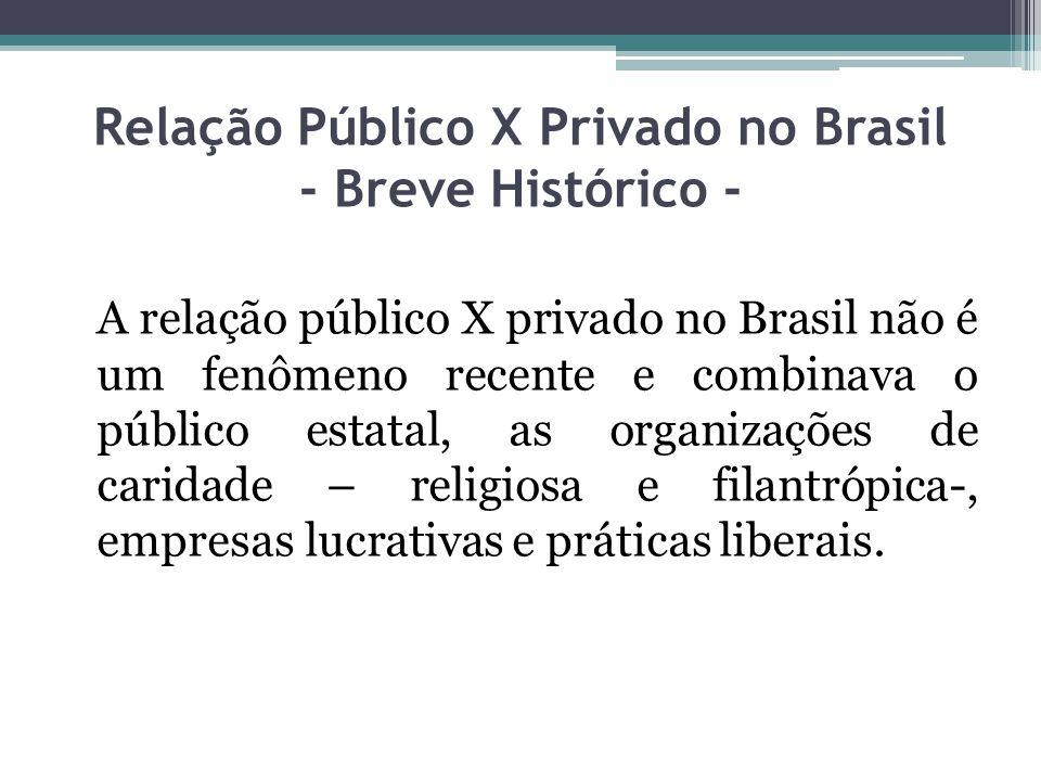 A relação público X privado no Brasil não é um fenômeno recente e combinava o público estatal, as organizações de caridade – religiosa e filantrópica-