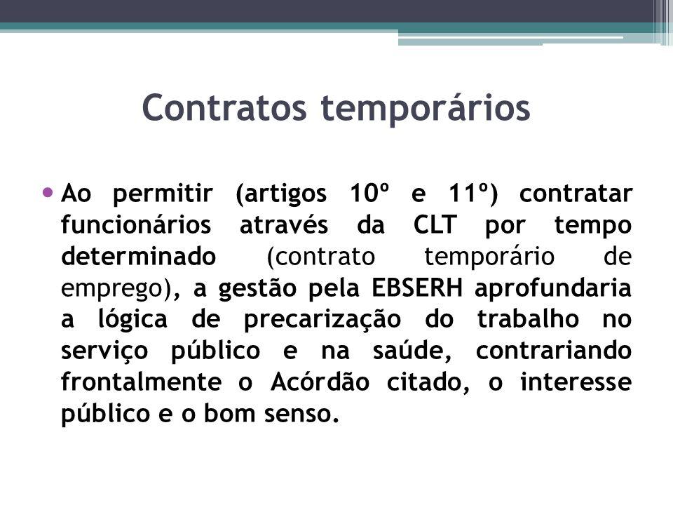 Contratos temporários Ao permitir (artigos 10º e 11º) contratar funcionários através da CLT por tempo determinado (contrato temporário de emprego), a